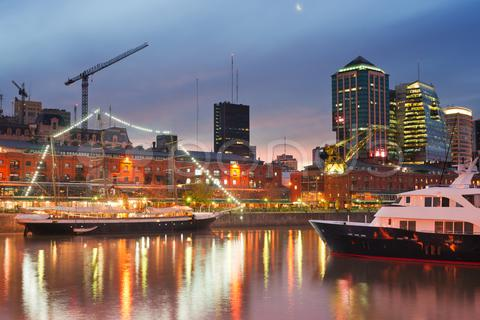 Stock photo of puerto madero at night