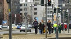 Frankfurt Messe Trade Fair traffic Crosswalk Zebra Cross Germany Stock Footage