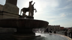 Fountain in front of the Quirinal Palace,residence of the Italian President,Rome Stock Footage