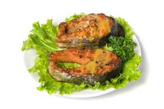 tasty hunchback salmon fish - stock photo
