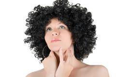 frizzy girl - stock photo