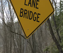 One lane bridge sign Stock Footage