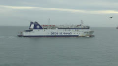 A DFDS Seaways ferry arriving at the Port of Dover, England. Stock Footage