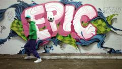 Urban footballer on graffiti background - #2 of 4 Stock Footage