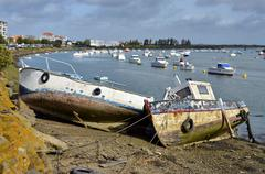 Ship wrecks in the port of Saint-Gilles-Croix-de-Vie - stock photo