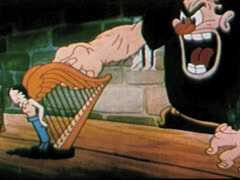Cartoon Giant Forces A Harp To Play. Stock Footage