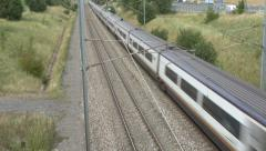A Eurostar train in France (with audio). - stock footage