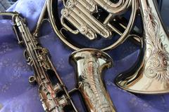 Brass Instruments -- Sax and Horn - stock photo