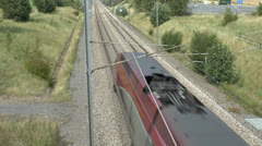 A Thalys PBKA high-speed train in France. - stock footage