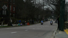 Boston Marathon State Police Motorcycles Stock Footage