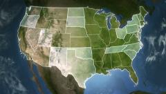 Spinning earth with North American States maps. Loopable. Stock Footage