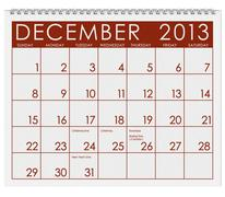 calendar: december 2013 - stock illustration