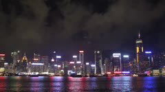 Night Time-lapse of Hong Kong Harbor - stock footage