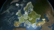 Stock Video Footage of Spinning Earth with European country maps. Loop-able.