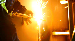 Welding at Night - Close View Stock Footage