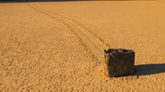 Death Valley Sliding Stone of Racetrack Playa Desert Stock Footage