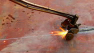 Cutting metal plates Stock Footage