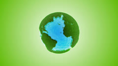 Green grass earth with water - global warming  Stock Footage