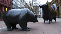 Frankfurt Stock Exchange Boerse Frankfurt am Main Bull and Bear Germany Stock Footage