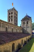 ripoll monastery bell tower - stock photo