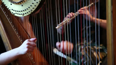 Harp and flute at wedding ceremony Stock Footage