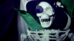 Laughing skeleton pirate haunt attraction Stock Footage