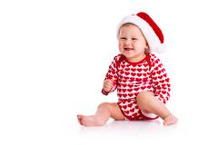 baby in santa's hat - stock photo