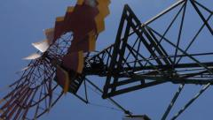 Wind power water tower Stock Footage