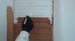Painting old door white Stock Footage
