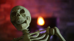 Skeleton in haunt Stock Footage