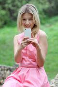sms  on mobile phone - stock photo