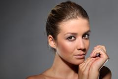 Beauty closeup portrait of beautiful sexy woman model Stock Photos