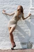attractive young woman in a sexual dress - stock photo