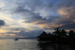 tahiti sunset - stock photo