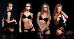 fashion photo of young sensual women - stock photo