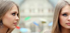 Closeup portrait of beautiful woman Stock Photos