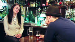 Friends talking at the pub Stock Footage