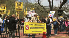 Protest against military drones - stock footage