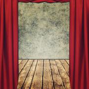theatrical grungy backgrounds with red curtains - stock illustration