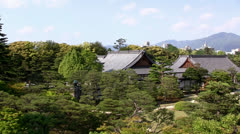 Nijo Castle, Kyoto, Japan (pan) - stock footage