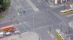 The intersection with a brisk traffic in Berlin, Germany Stock Footage