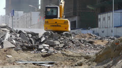 Excavator working on construction site. Stock Footage
