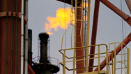 Stock Video Footage of Oil and Gas Industry Flare Tip