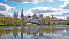 View of the Novodevichy Convent in Moscow in the spring Stock Footage
