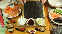 Nori Sushi seaweed Stock Footage