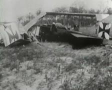 World War 1 - Aircraft Crashed Stock Footage