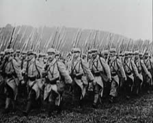 World War 1 - Soldier Walk Battle Stock Footage