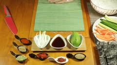 Preparing Uramaki Sushi Stock Footage