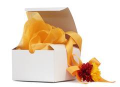 gift box with yellow ribbon - stock photo