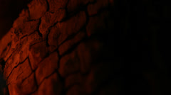 Shadowy Reflections of Fire on Cracked Wood - 25FPS PAL Stock Footage